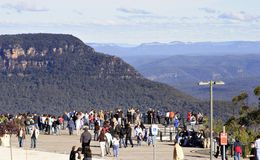 Look out. Tourist Lookout at Echo Point stock image