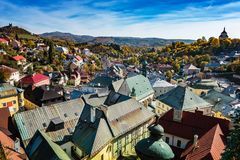 Look-out of balcony of old castle tower in Banska Stiavnica, Slo Royalty Free Stock Photography