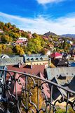 Look-out of balcony of old castle tower in Banska Stiavnica, Slo Royalty Free Stock Photo