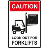 Look out for forklift. Safety  sign for worker in work area Stock Photo