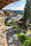 Look-out of old castle walls in Banska Stiavnica, Slovakia, UNES Stock Images