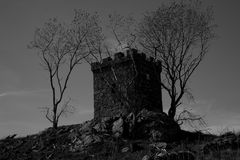 Look out Post. An old look out post in the heart of Scotland in Black and White Royalty Free Stock Images