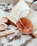 Wine glass book inspiration read pleasure stock images