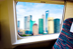 Look out through the windows of highspeed rail Stock Photos