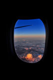 Look outside from plane. This image took on the plane from Riyadh to Turkey. The sunset above Istanbul sky was very beautiful Royalty Free Stock Photo