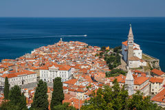 The look over the old town of Piran Stock Images