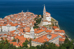 The look over the old town of Piran Royalty Free Stock Image