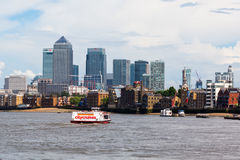 Look over the Thames to Canary Wharf in London, UK Stock Images