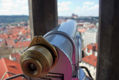Look over there!. Detail of a spyglass located on the tower of the Old Town Hall in Prague, Czech Republic Royalty Free Stock Images