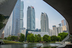 Look at the Pearl River new city landscape from the Guangzhou Grand Theatre Stock Images