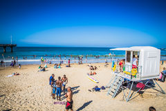 Look at the people on the beach waterfront of Port Elizabeth Stock Photography