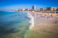 Look at the people on the beach waterfront of Port Elizabeth Stock Image