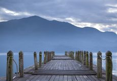 Look on pier and mountain Stock Photos