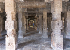 Look through pillared Mandapam straight into Mariamman shrine. Stock Photography