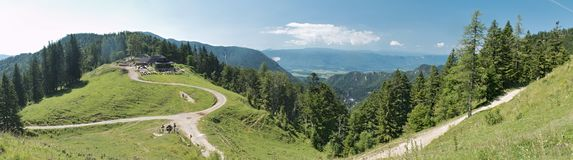 Look from planina Prevala in Karawanken mountains Royalty Free Stock Image