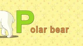Look polar Alfabeto inglés del PARQUE ZOOLÓGICO - letra P stock de ilustración