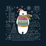 Look polar Tarjeta de Navidad Fotos de archivo libres de regalías