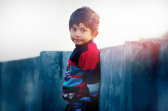 The Look-Portrait of a little cute Indian child at goden hour lo royalty free stock photography