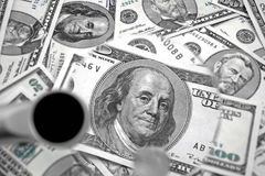 Look on president. Magnifying glass and money  observation  with magnifying glass Stock Photos