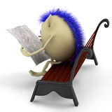 Look on puppet reading newspaper on bench Royalty Free Stock Photos