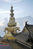 Look at puxian buddha through the temple eave royalty free stock images