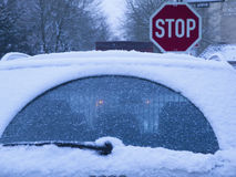 Stop and snow Royalty Free Stock Image
