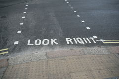 Look Right. Typical Loor Right in London royalty free stock images