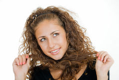 Look in right. Coquettish girl looks in right on white Royalty Free Stock Photography