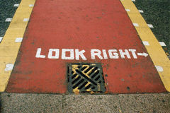Look Right London. At London you need to remember to look right Royalty Free Stock Photo