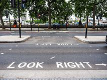 Look right, look left sign in London, hdr. LONDON, UK - CIRCA JUNE 2017: look right and look left road signs, high dynamic range Stock Images
