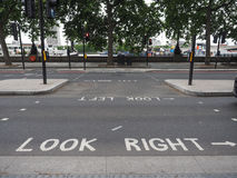 Look right, look left sign in London. LONDON, UK - CIRCA JUNE 2017: look right and look left road signs Stock Image