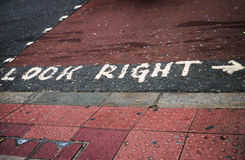 Look right. Pedestrian crossing, London UK Stock Images