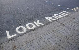 Look Right at a pedestrian crossing Royalty Free Stock Photography