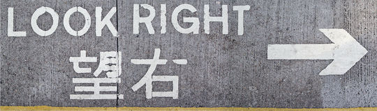 Look right road sign Royalty Free Stock Images