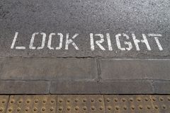 Look right sign on a crosswalk, Gibraltar UK. royalty free stock photos