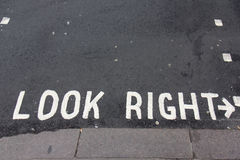 Look right sign, London street Royalty Free Stock Images