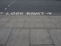 Look right sign Stock Images