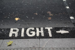 Look right sign on a London street Stock Photos