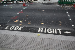 Look right sign on a London street Royalty Free Stock Photos