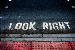 Look Right. A look right sign on the streets of England stock photo
