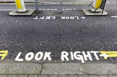 Look right warning Royalty Free Stock Photo