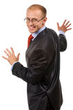 Look round. Smiling businessman look round. Excellent picture for presentation of your product. Isolated pictures Royalty Free Stock Photo