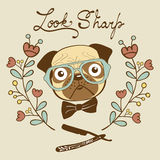 Look sharp hand drawn card with cute french bulldog gentleman Stock Photos