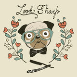 Look sharp hand drawn card with cute french bulldog gentleman Stock Images