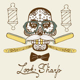 Look sharp. Skull with mustache and hat. Retro style hand drawn graphics for barber shop emblem Royalty Free Stock Image