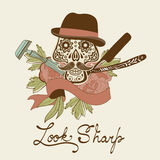 Look sharp. Skull with mustache. Retro style hand drawn graphics for barber shop emblem Stock Photography