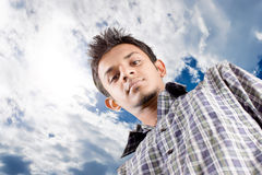 Look at sky. Man on white background looking at sky and think something positively Stock Photo
