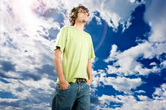 Look at sky. Man on white background looking at sky and think something positively Royalty Free Stock Images
