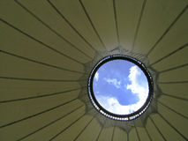 Look into the sky. Detail of a modern roof Stock Photos
