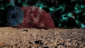 Look at space from the surface of the moon, futuri Royalty Free Stock Images